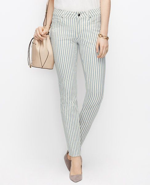 Ann Taylor Curvy Skinny Stripe Jeans In Wet Stucco