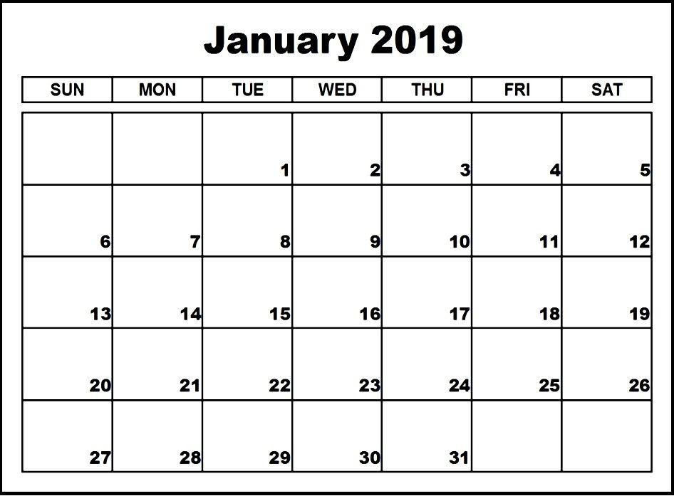 January 2019 Calendar Fillable January 2019 Calendar Editable   Blank January 2019 Calendar