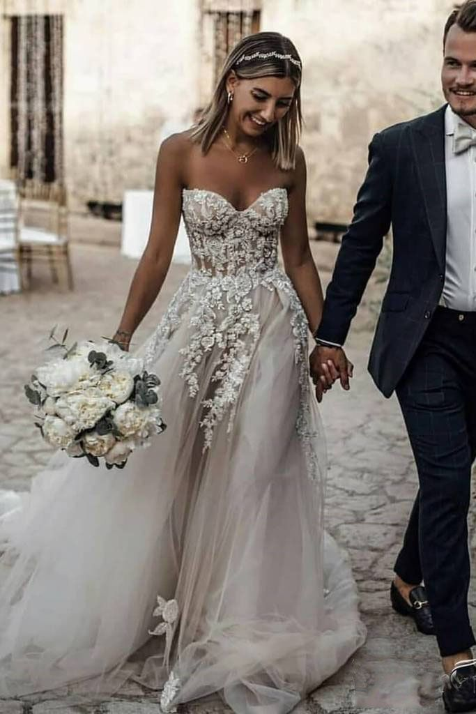 Boho Sweetheart Tulle Long Beach Wedding Dresses Charming