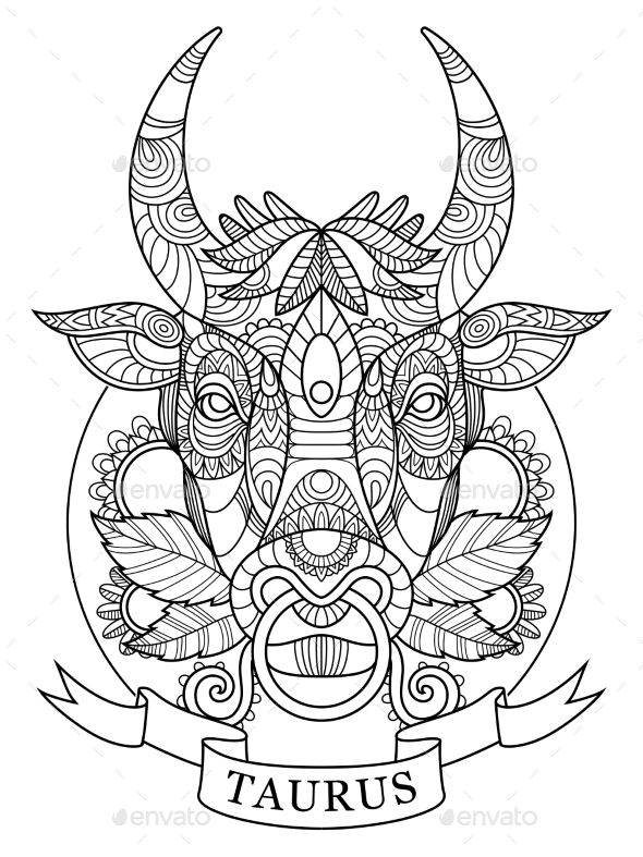 taurus zodiac sign coloring book for adults vector illustration  anti