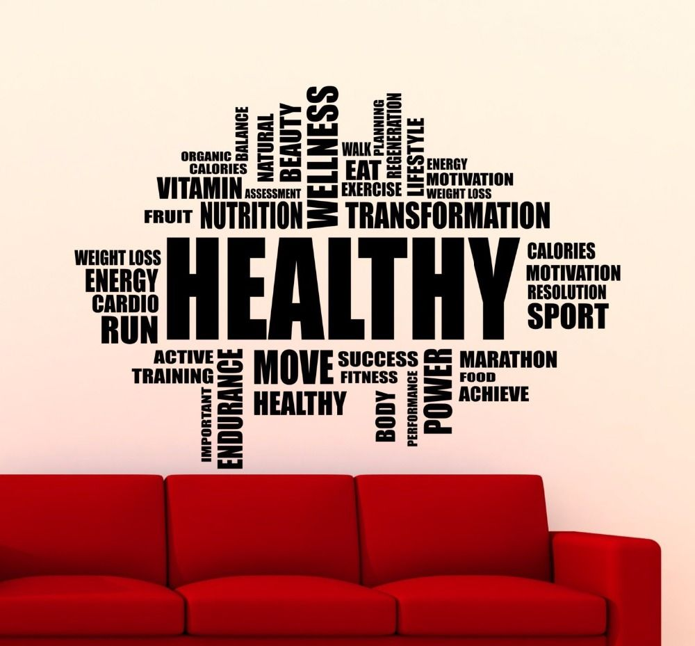 Free shipping buy best unique vinyl wall stickers healthy words