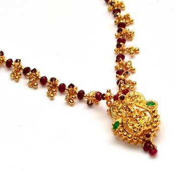 98937dc19d Anvi's rubies necklace with lakshmi pendent (temple jewellery) Rs 1035
