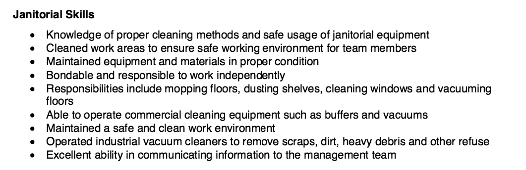 janitorial resume skills http resumesdesign com janitorial