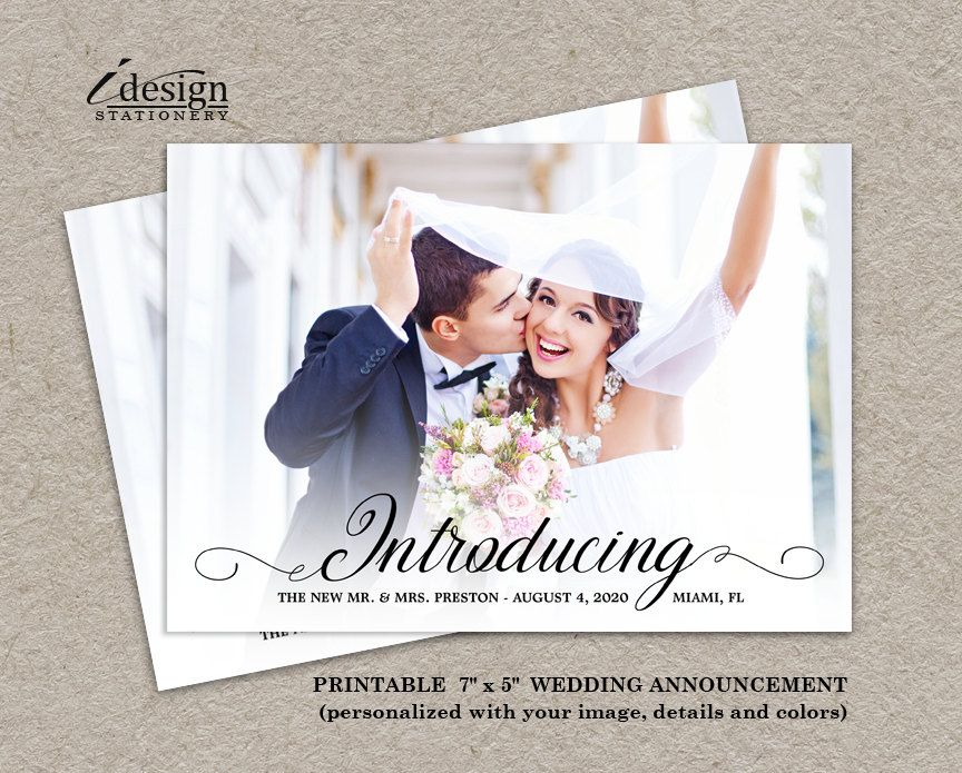 Photo Wedding Announcement Card Diy Printable Calligraphy Introducing The New Mr And Mrs Marriage Cards Elopement By