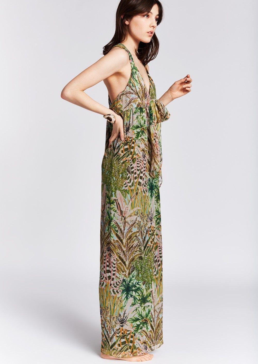 Tara 1 Soie De Longue Robe Jarmon Jungle En Mode Femme Crépon q1zq70w