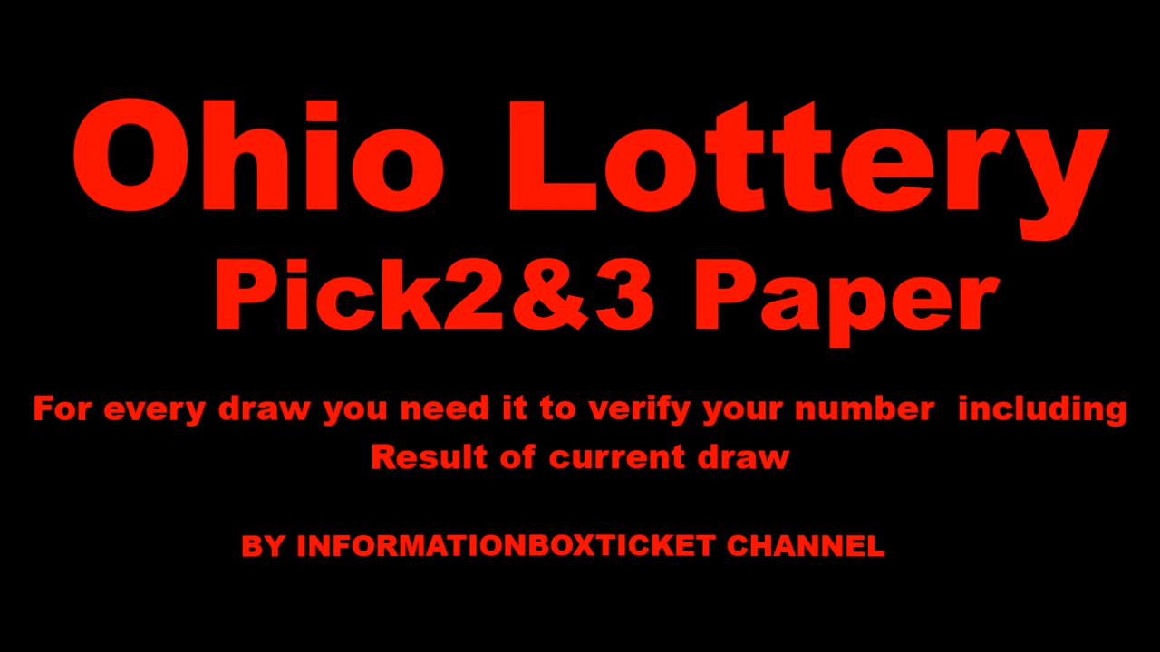 Ohio Lottery Pick3 Pick2 Day And Night With Images Lottery Youtube Com Ohio