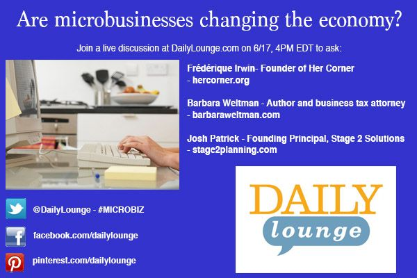 """From #tech start-ups based anywhere with complimentary Wi-Fi to hobbies turned into home-run enterprises, people are launching their own #businesses, often with just themselves (or a few others) as employees. So called """"microbusinesses"""" are changing the economic landscape as much as they are changing with it. We'll discuss the rise of these tiny ventures, the challenges they face, and just what it takes run your own microbusiness with our panel of experts:  ow.ly/lW3CE"""