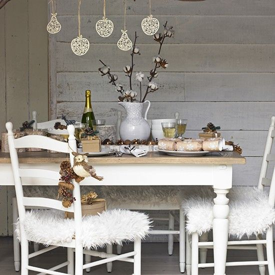 Christmas Dining Room With Faux Fur Seat Covers