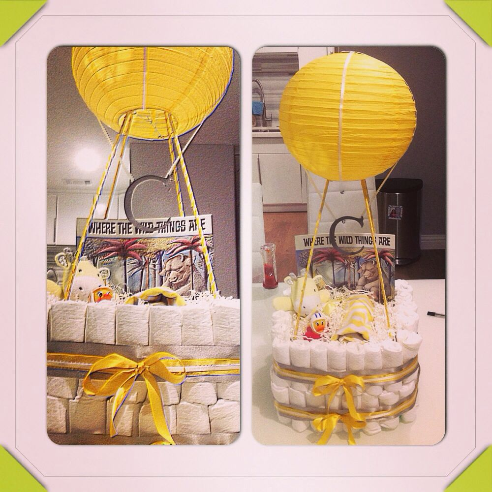 Hot air balloon diaper cake for baby cash my creations