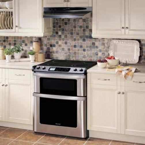 Sharp Slide In Electric Range With Microwave Drawer Auto Opening True European Convection Cooking Front Mounted Gl Lcd Touch Controls