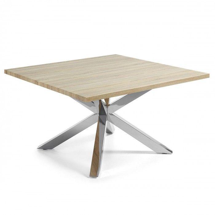 Mesa cuadrada madera natural patas metal l149 tables for Mesas cuadradas para comedor