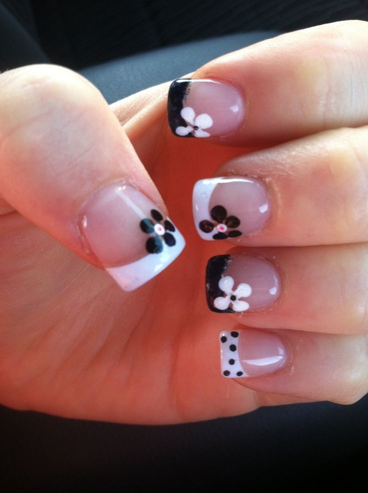 Black and White French Tips with Contrasting Flowers! | See more at ...