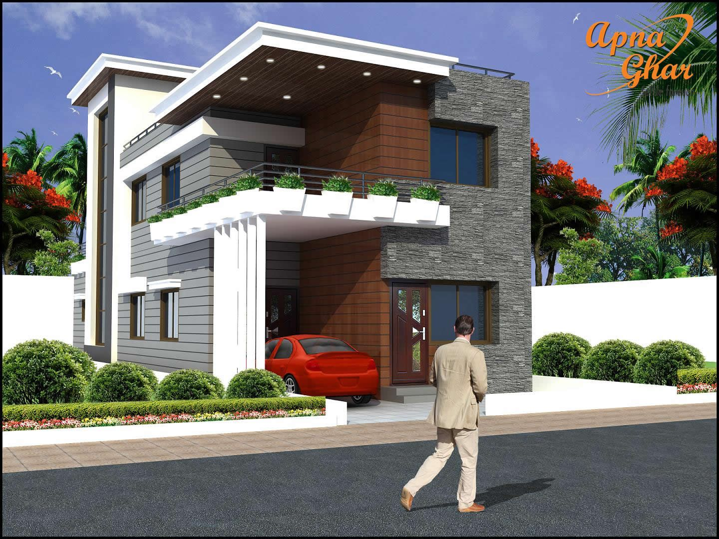 6 bedrooms duplex 2 floor house design in 208m2 8m x for Small duplex house