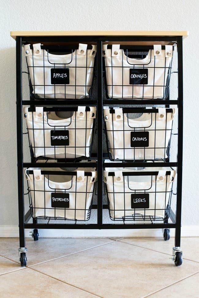Depending on your kitchen, it might work best as an island or along a wall. Carts with drawers like this one ($65.79) work well if you don't have much pantry space, or ones with shelves like this one ($59.99) are great for storing pots and pans.