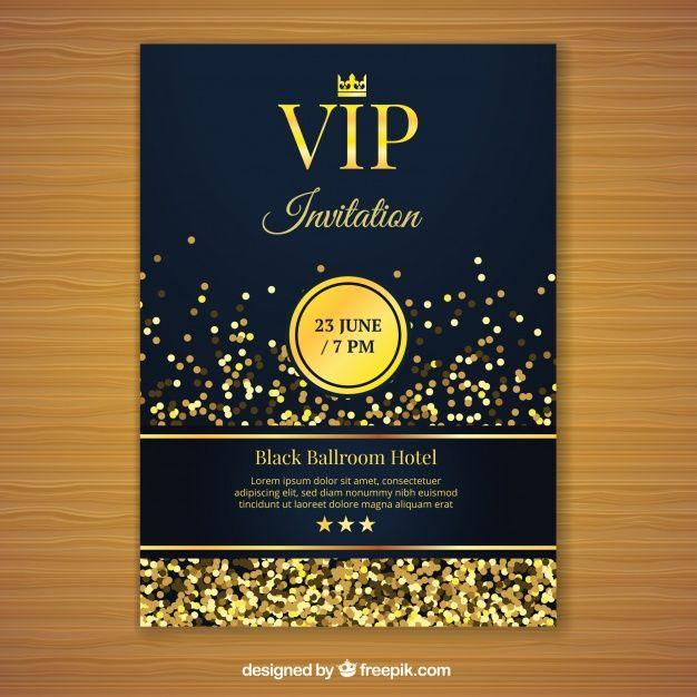Golden Vip Invitation Template Free Vector Free Vector Freepik Vector Freelogo Freebusiness Card Fre Vip Invitation Invitations Invitation Card Printing