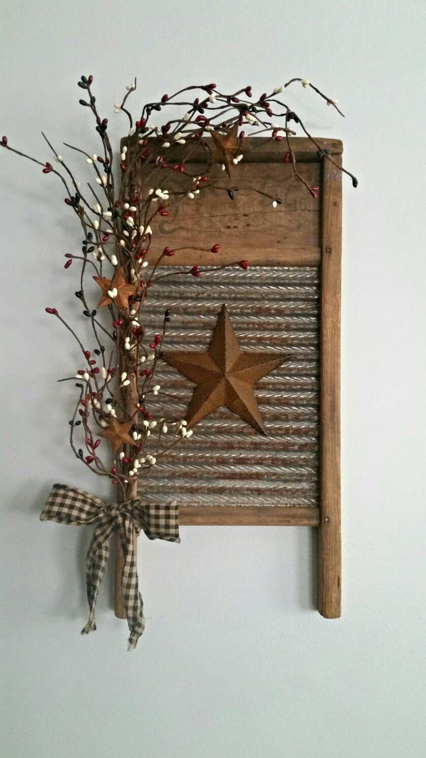 Small Rustic Primitive Vintage Washboard Decor Primitive Decorating Country Diy Rustic Decor Washboard Decor
