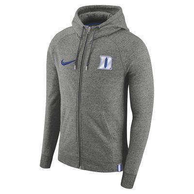1bb8ec0a Men's Nike Heathered Gray Duke Blue Devils AW77 Full-Zip Hoodie ...