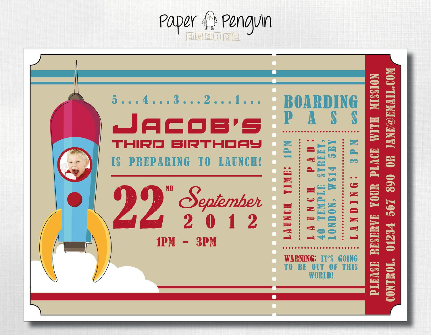 Personalized Kids Space Rocket Ship Ticket Birthday Party
