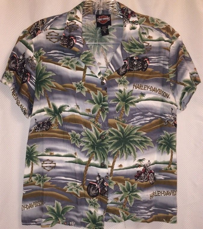 8e15e0d2f18 Harley Davidson Motorcycles Hawaiian Aloha Shirt 6 Palm Tree Tori ...