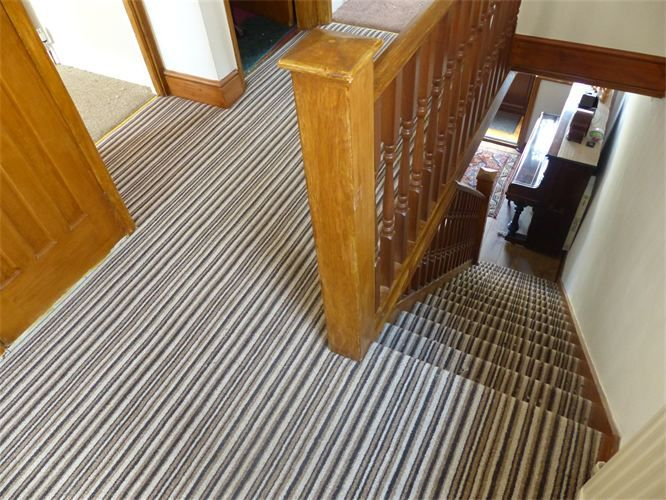 Striped Carpet On Stairs Plain On Landing Google Search Carpet   Carpet For Stairs And Landing   Textured   Patterned   Silver   Neutral   Hardwood