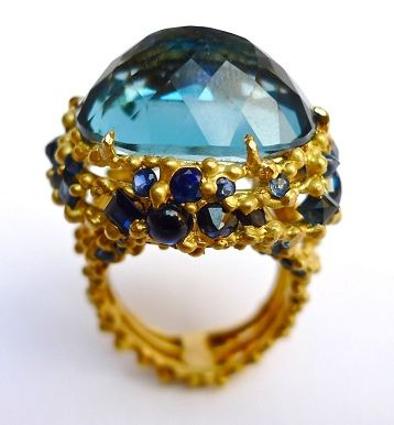 ❥ Polly Wales Astral Ring: 18k gold, blue sapphires, London Blue topaz