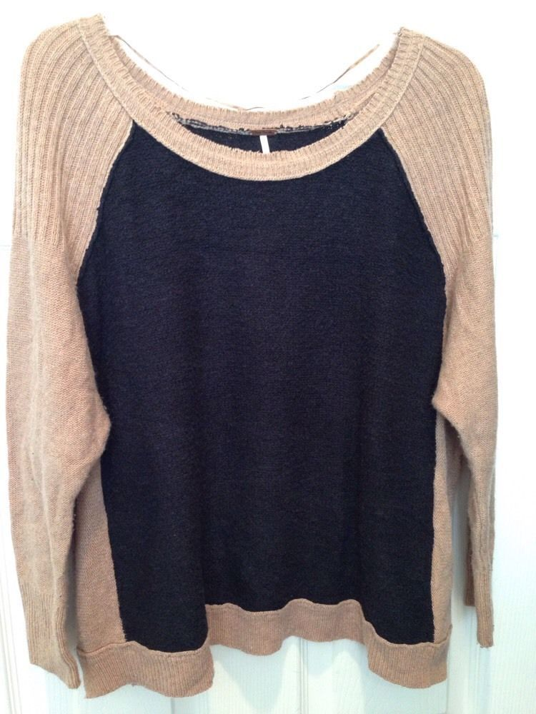 5cbefbb6a8 Women s Free People Black Tan Off the Shoulder Cotton Loose Distressed Sweater  M  FreePeople  Sweater