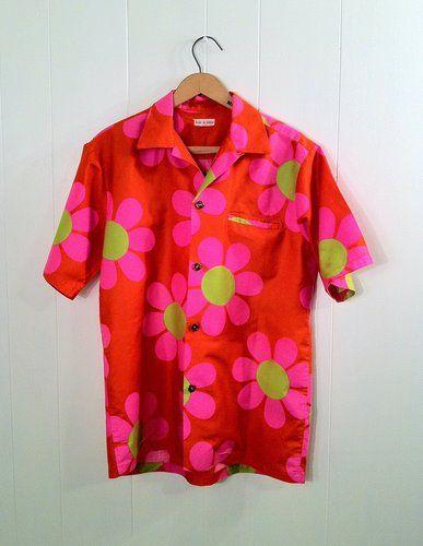 Vintage 1950s Pink & Orange Cotton Men's Hawaiian Shirt Size 42