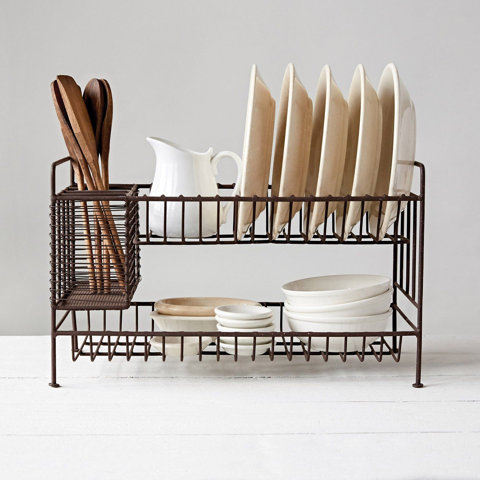 Photo of 2-Tier Metal Dish Rack with Utensil Compartment