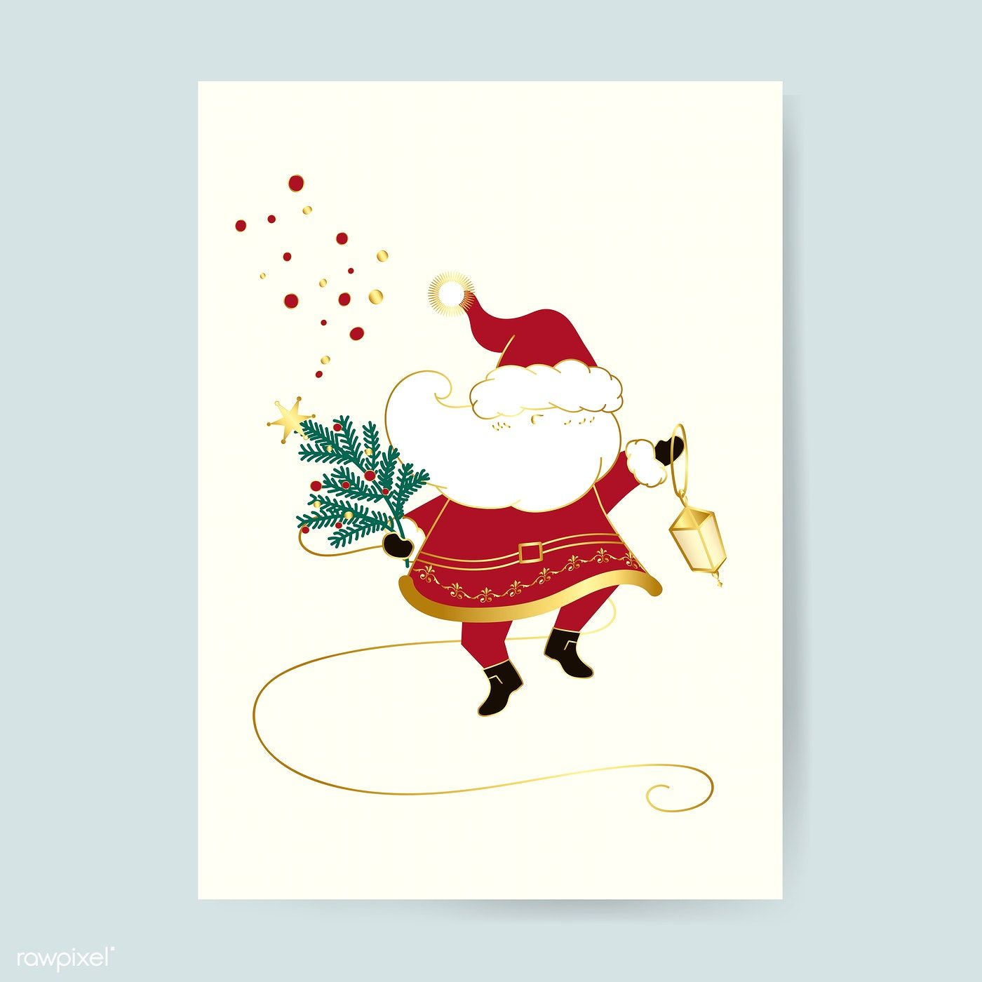 Santa Claus Christmas Card Vector Free Image By Rawpixel Com Busbus Merry Christmas Card Design Christmas Cards Free Reindeer Card