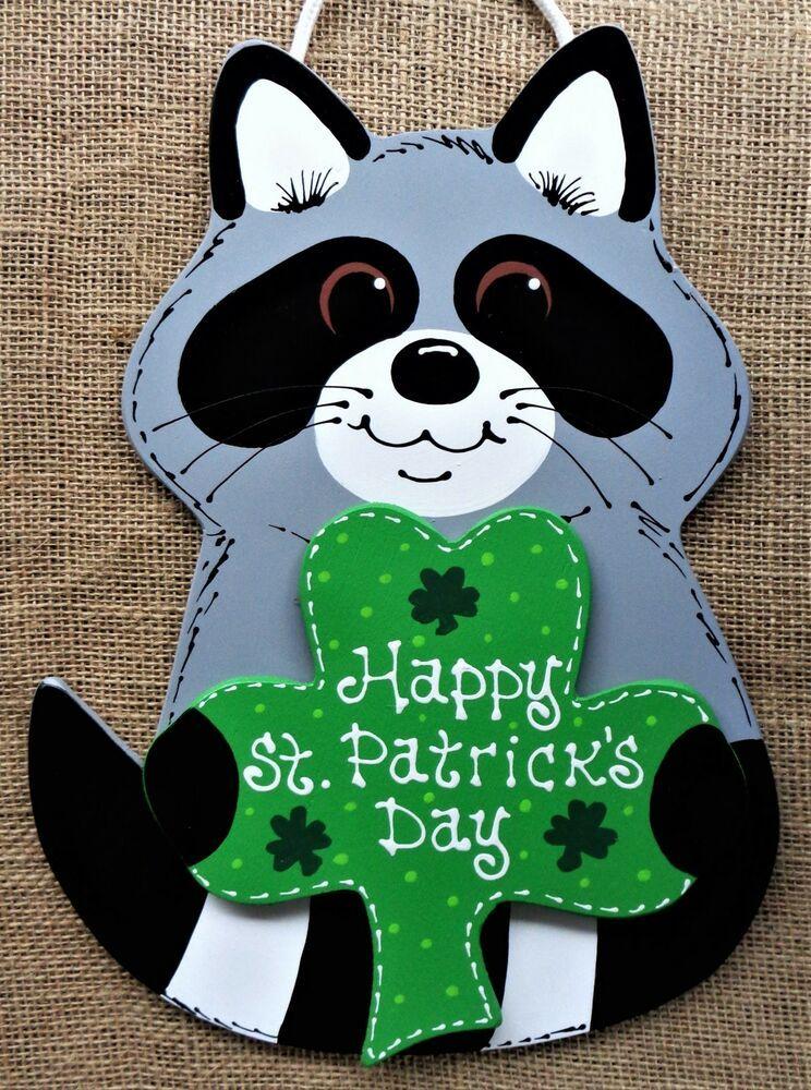 Happy st patricks day raccoon door decor sign wall art