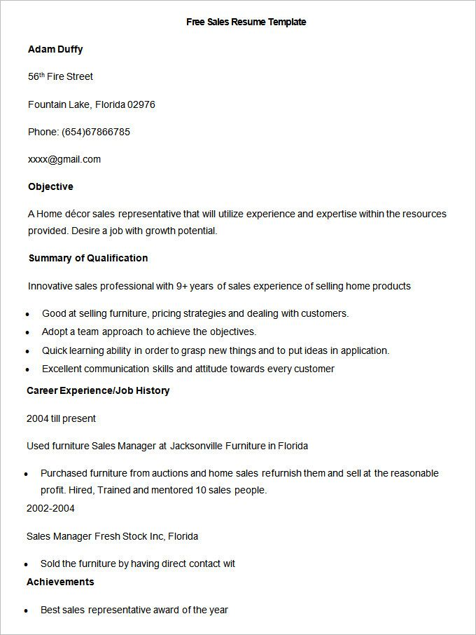 Free Sample Sales Resume Template  Write Your Resume Much Easier
