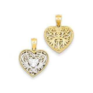 14k Two Tone Gold Clover Heart Inspired Crucifix Pendant