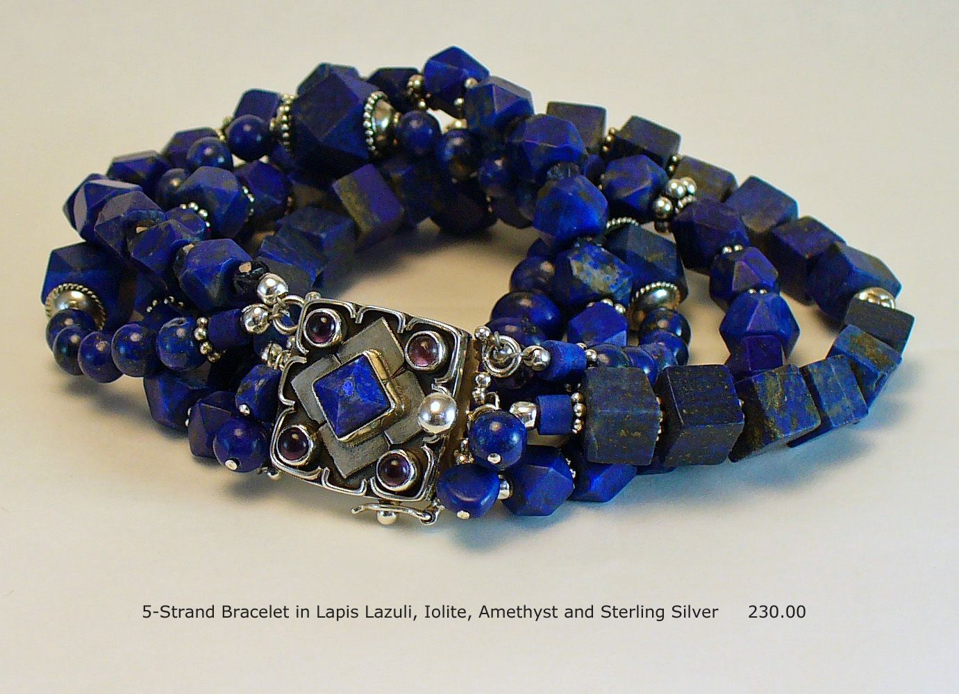 5-Strand Bracelet in Afghani Lapis Lazuli, Iolite, Amethyst, 14K Gold and Sterling Silver  One of a Kind and Handmade by A. Denise Rollings-Martin  www.lilygirlart.com  $230.00