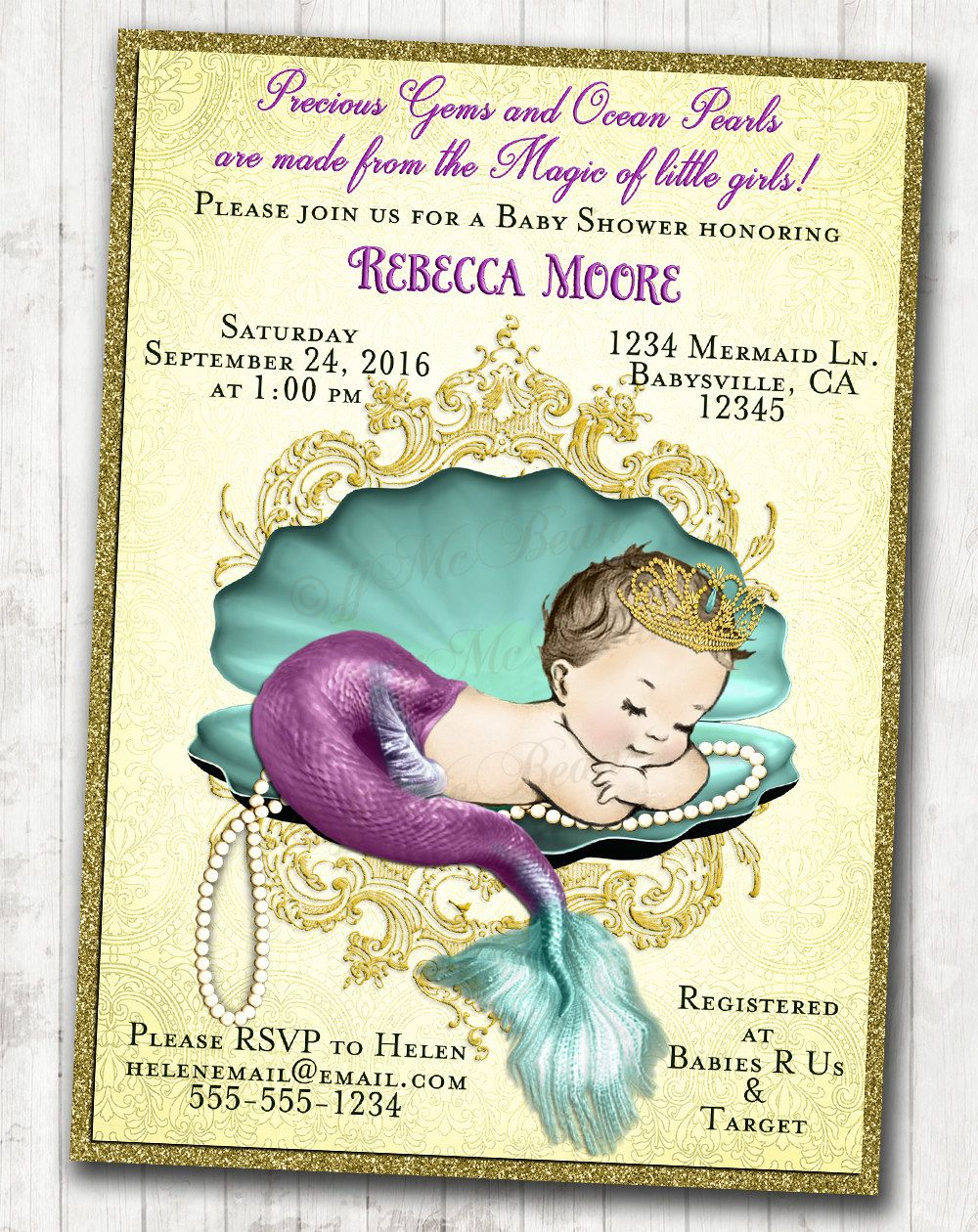 Mermaid Baby Shower Invitation Little Mermaid Baby Shower Under The ...