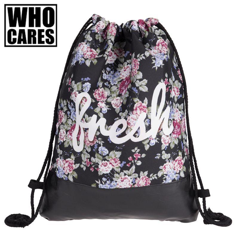 ceddba420d25 Flowers Fresh Printing Leather Bottom Backpack Women Mochilas 2017 ...
