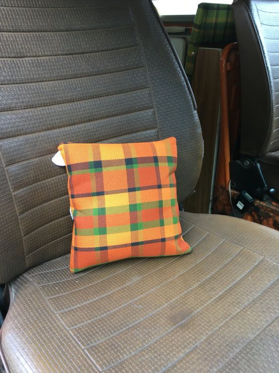Orange Westfalia Plaid Pillow Small Cute Volkswagens And