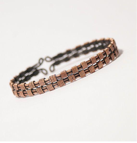 Mens cuff bracelet wire wrapped jewelry handmade copper bracelet