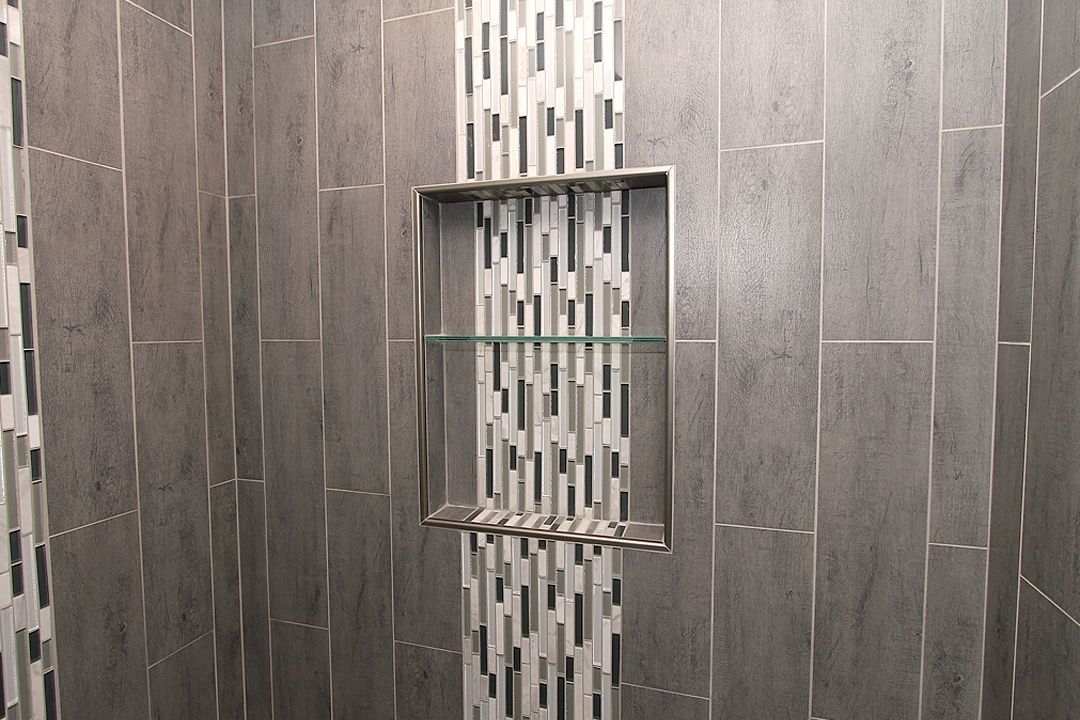 Top Shower Niche with Glass Shelf and Waterfall Tile | Shower Niche  AF01