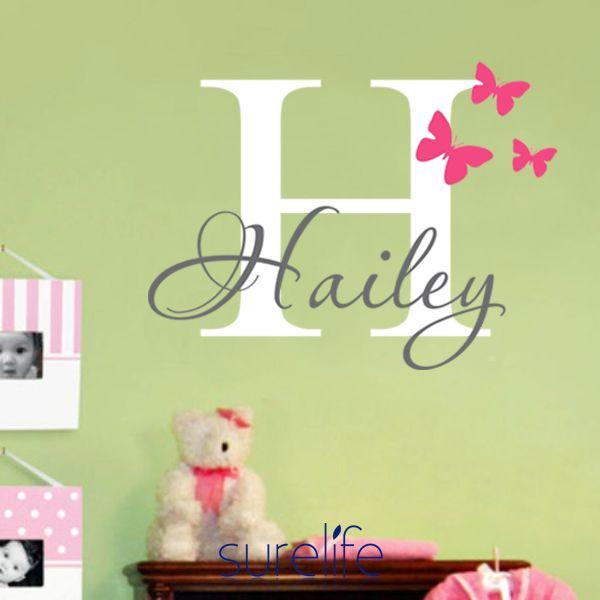 Butterflies Name Personalized Princess Vinyl Wall Sticker Wall ...
