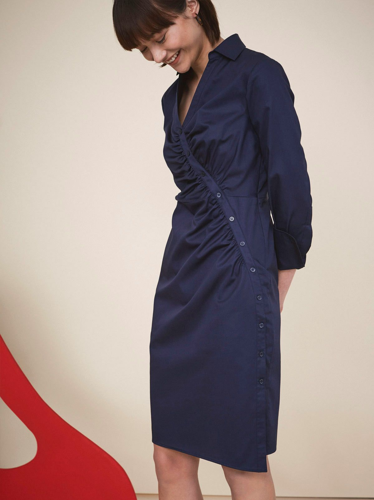 e93a9866a88a Natalia Navy Fitted Shirt Dress by KITRI Studio. We reworked a button up  shirt with