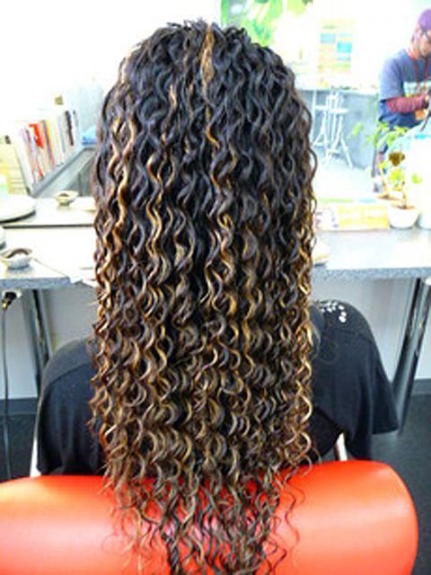 long hair curly spiral perm