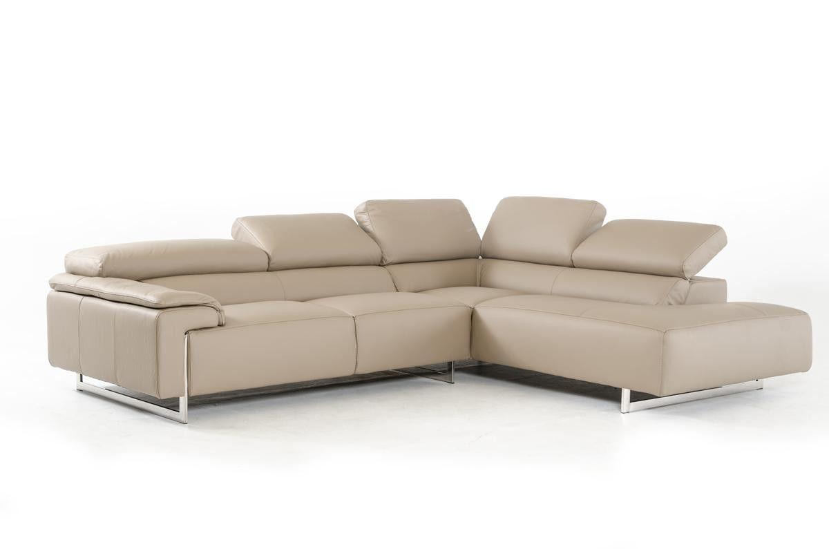 Fu0026T Salotti Carezza Italian Modern Taupe Leather Sectional Sofa