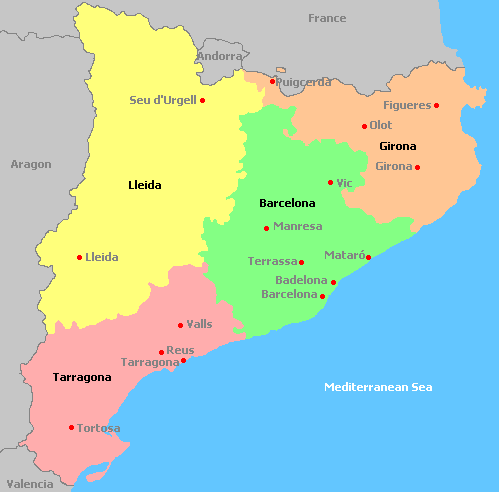 World Map Catalonia. Map of Catalonia  depicting its four provinces Tourism in Spain today is a major contributor to the national