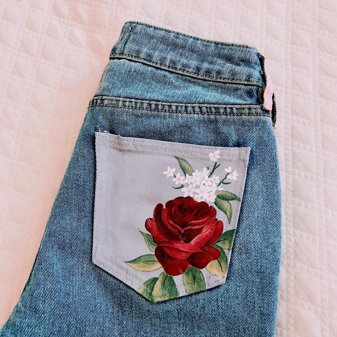 """🤍 alison 🤍 on Instagram: """"Custom painted #shawnmendes jeans! It was insane painting these🌷🤩 #paintedjeans #painting #art #aesthetic"""""""
