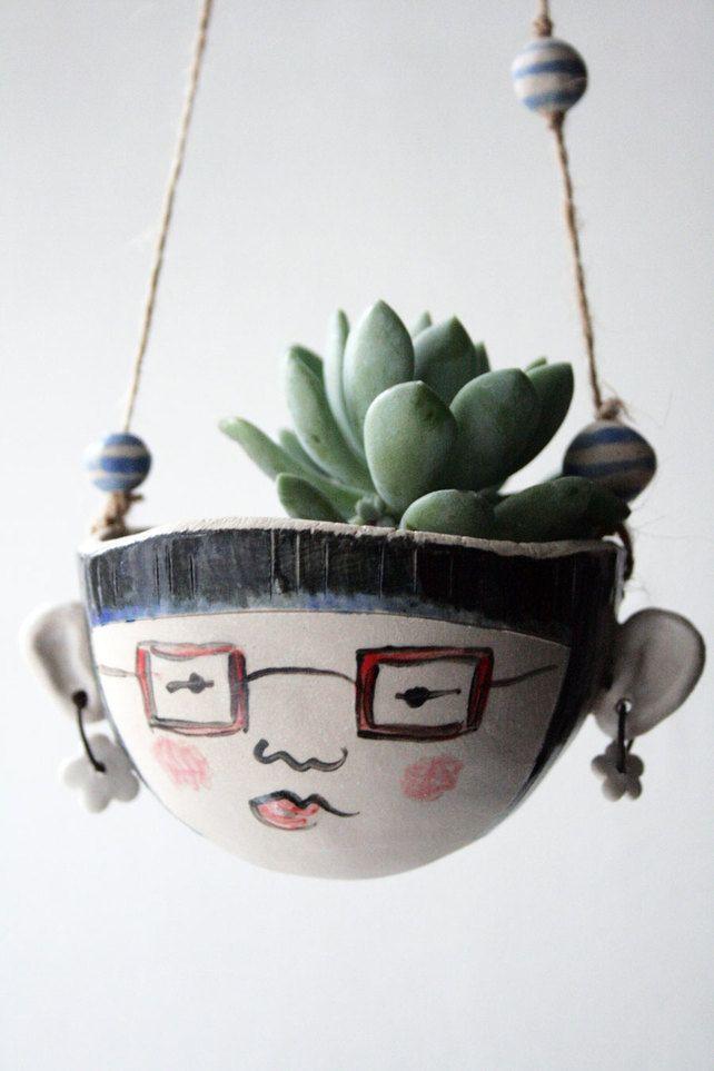 Vintage Owl Ceramic Hanging Planter Pot Flower Pot Stonewear Handmade Macram\u00e9 Ready