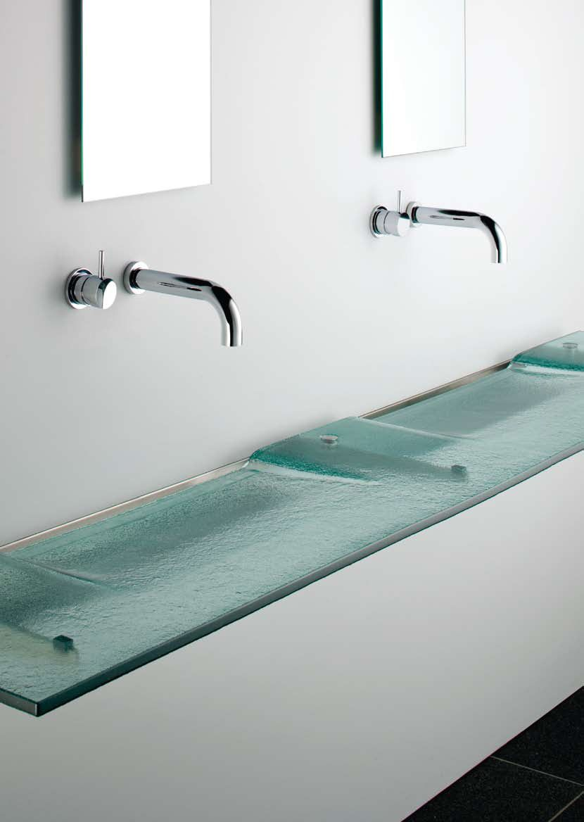 Very Slim Glass Bathroom Sink U2013 Linea Washplane® Seafoam Glass By Omvivo |  DigsDigs