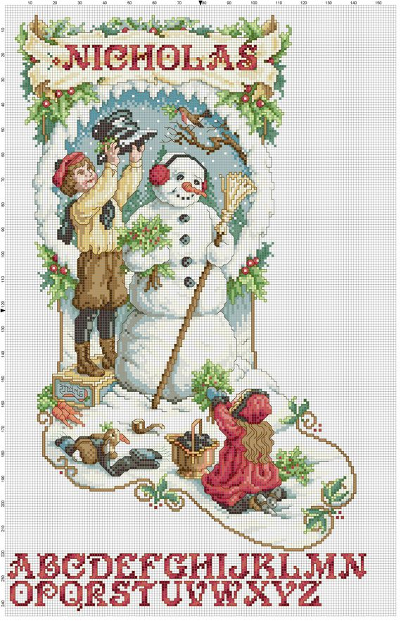 Victorian Christmas Stocking Counted Cross Stitch Pattern   collares ...