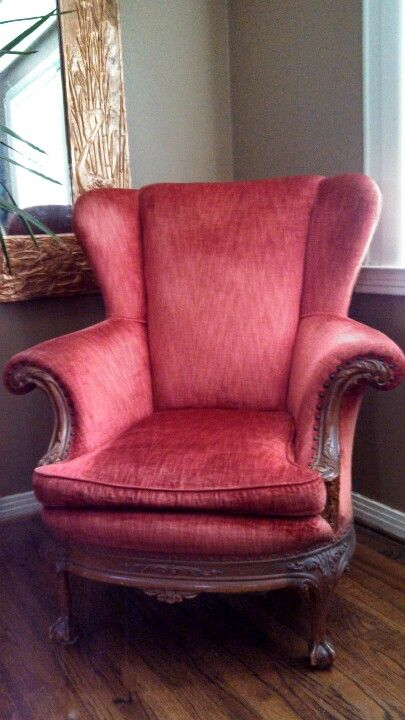Antique Red Velvet Wingback Chair