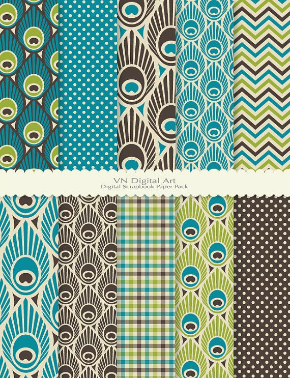 """Peacock Feather Digital Scrapbook Paper Pack (8.5x11""""-300 dpi) -- Instant Download -- 10 Digital papers -- 423"""