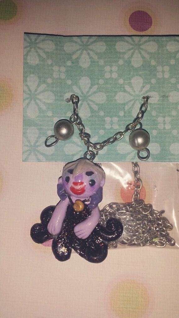 buy this polymer clay ursula necklace for just 10$ ! https://www.etsy.com/listing/194836208/ursula-the-little-mermaid-necklace